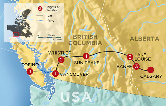 Canadian Rockies and Clayoquot Sound Adventure – Map