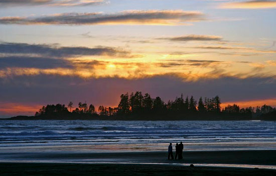 Sunset over Long Beach in Tofino on Vancouver Island