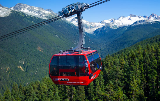 Exterior of the Peak to Peak gondola in Whistler and the surrounding alpine scenery