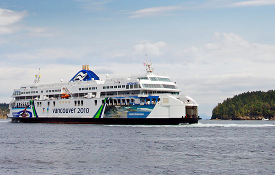 The ferry to Vancouver Island crosses the Salish Sea