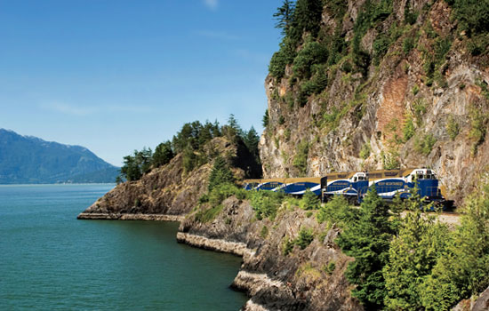 The Whistler Mountaineer carries passengers past beautiful mountain landscapes
