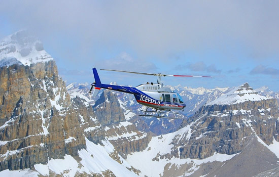 Aerial of a heli-trip over the Rockies