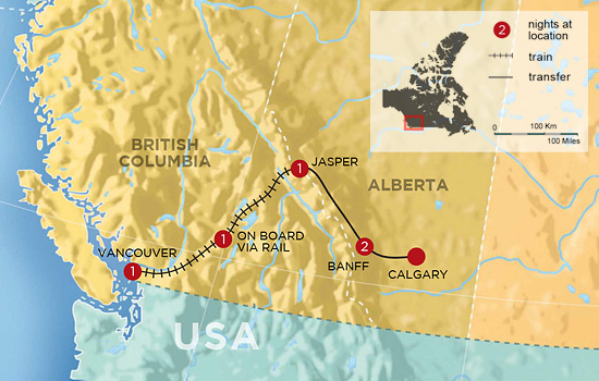 Canadian Rockies Voyage by Train - Map