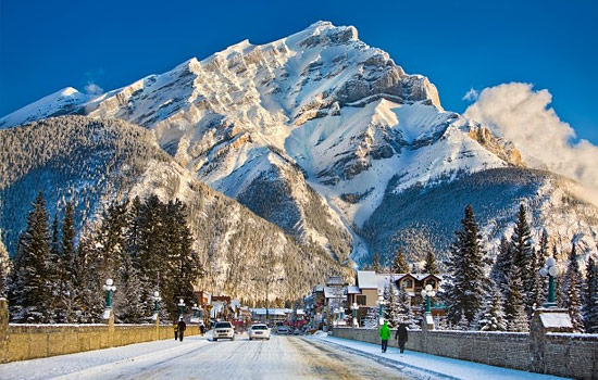 Cascade Mountain in winter as seen from Banff town in the Rockies