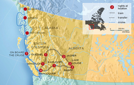 Circle the Rockies by Train with Alaska Inside Passage Cruise – Map