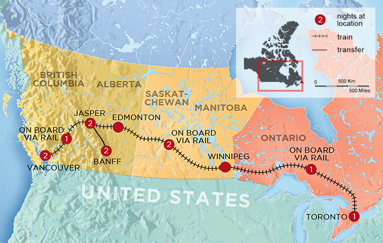 Trans Canada by Rail in Winter - Map