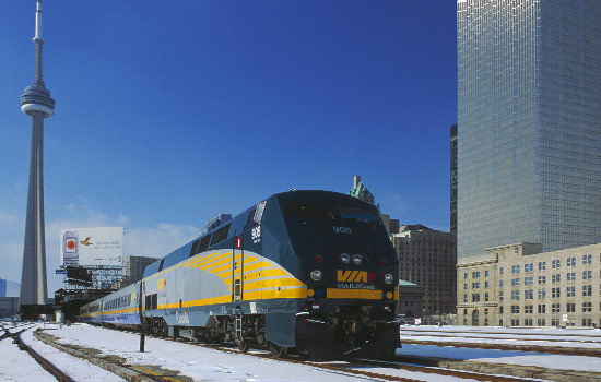 VIA Rail train arrives in Toronto, Ontario