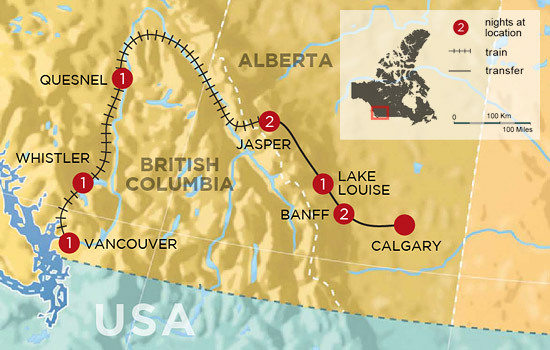 Discover Whistler and the Canadian Rockies by Rail – Map
