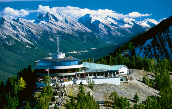The Banff gondola station sits atop Sulphur mountain in the Canadian Rockies