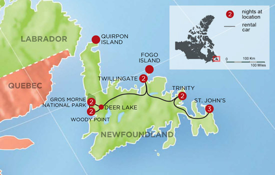 Wild Newfoundland Self Drive  – Map