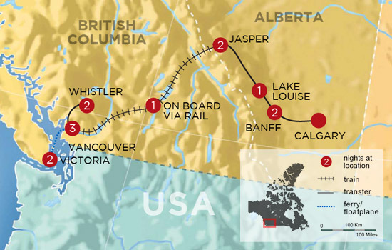 Wintertime in the Canadian Rockies by Rail – Map