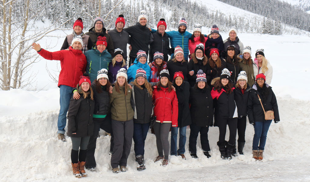 The team of Fresh Tracks Canada experts exploring the Canadian Rockies