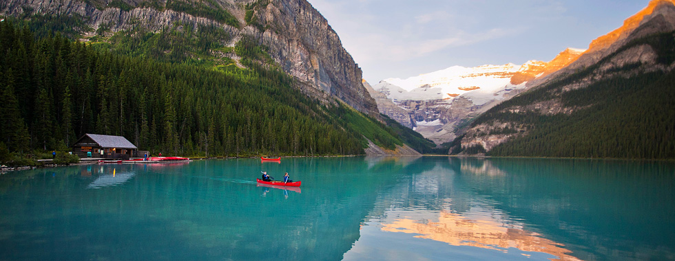 Turquoise Lake Louise is a year round destination, perfect for canoeing and kayaking in the summer, and ice skating in the winter.